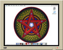Images of computer screen with pentacle wallpaper